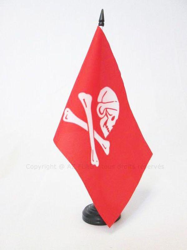 AZ FLAG Pirate Edward Lowe Table Flag 5 x 8 Black plastic stick and base skull Pirates Desk Flag 21 x 14 cm