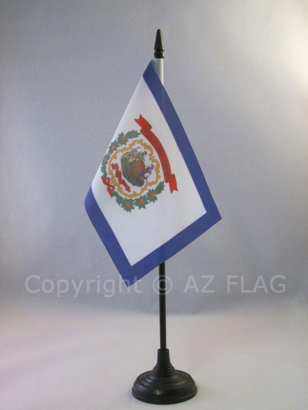 "Virginia State Flag 4/""x6/"" Desk Set Table Stick Black Base"